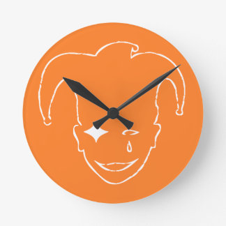 Orange und weißes MTJ Runde Wanduhr