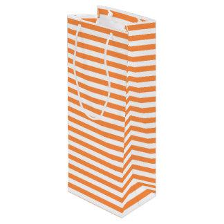 Orange und weißes Streifen-Muster Geschenktüte Für Weinflaschen