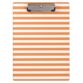 Orange und weißes Streifen-Muster Klemmbrett