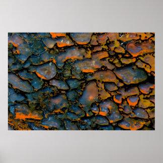 Orange versteinerter Dinosaurierknochen Poster