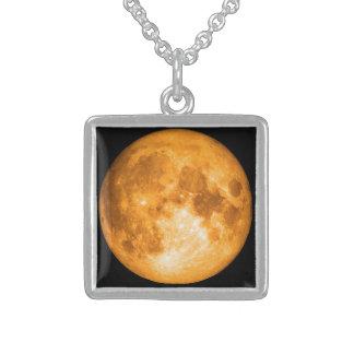 orange Vollmond Sterling Silberkette