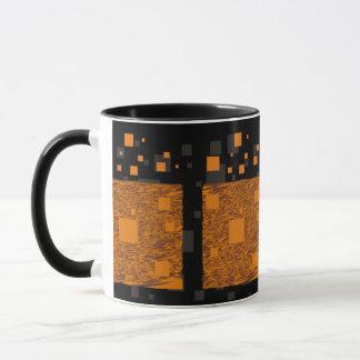 Orange wachsames Floss abstrakter schwarzer Kasten Tasse
