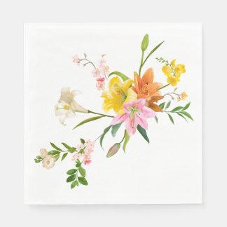 Orange weiße u. gelbe Lilien-mit BlumenBlumen Papierserviette