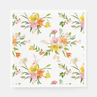 Orange weiße u. gelbe Lilien-mit BlumenBlumen Serviette