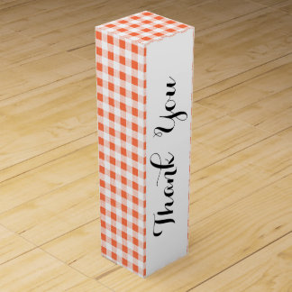 Orange weißes Gingham-Muster Weinbox