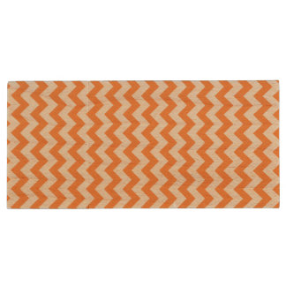 Orange Zickzack Stripes Zickzack Muster Holz USB Stick 3.0
