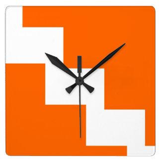 Orange Zickzack Wand-Uhr Quadratische Wanduhr