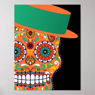 Orange Zuckerschädel mit Hut und Bogen-Krawatte Poster