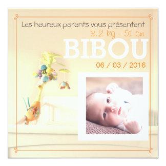 Orangees Zimmer ⎮ Faire-part Geburt Quadratische 13,3 Cm Einladungskarte