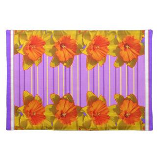 Orangegelbe Narzissen-lila lila Muster Stofftischset