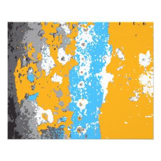 Orangen-, Blaue und Graueabstrakte Grafik 11,4 X 14,2 Cm Flyer