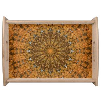 Orangen-, Gold-und Brown-Mandala-Kaleidoskop Tablett