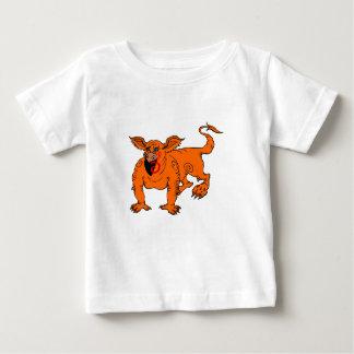 Orangen-kriechender alberner Drache Baby T-shirt