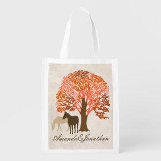 Orangen-und Brown-Herbst-Pferde Wiederverwendbare Einkaufstaschen