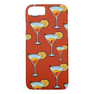 Orangensaftgetränk-Muster mit rotem Hintergrund iPhone 8/7 Hülle