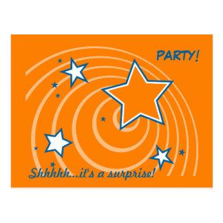 Orangensterngeburtstags-Überraschungs-Party Postkarte