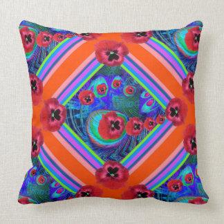 Orangey-Rotes Stiefmütterchen-blaue Muster-Kunst Kissen