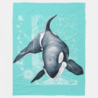 Orca-aquamarine weiße Karte Fleecedecke