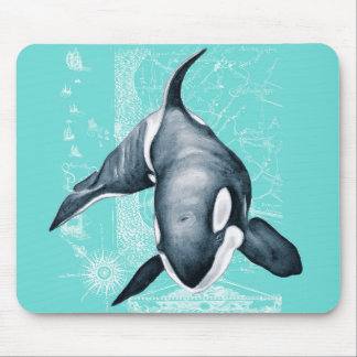 Orca-aquamarines Weiß Mousepad