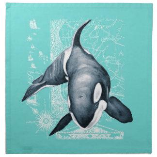 Orca-aquamarines Weiß Stoffserviette