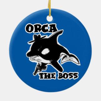 Orca die lustige Illustration der Chef-Cartoon-Art Rundes Keramik Ornament