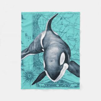 Orca-Karte aquamarin Fleecedecke