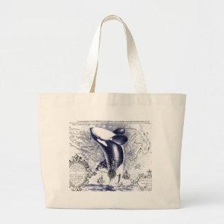 Orca-Wal-Vintages Karten-Blau Jumbo Stoffbeutel