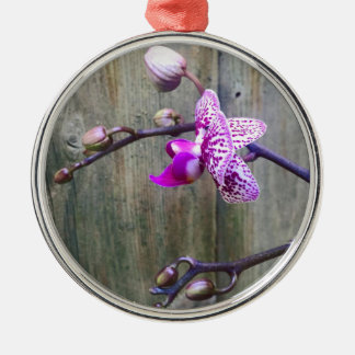 orchid love rundes silberfarbenes ornament