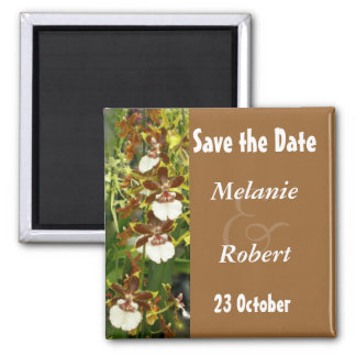 Orchidee, die Save the Date Wedding ist Quadratischer Magnet