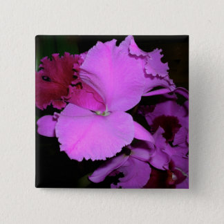 Orchidee Quadratischer Button 5,1 Cm
