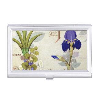 Orchidee u. Fumitory oder Herz-Hedera u. Iris Visitenkarten Dose