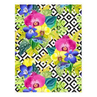 Orchideen-Begonie und Palmblätter Postkarte