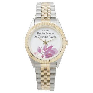 Orchideen-billige Hochzeit verpackt Armbanduhr