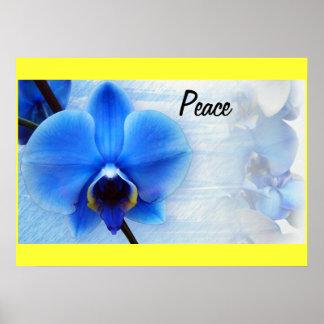 Orchideen-blaue Blumen-FriedensLiebe-Schicksals-Ge Plakate