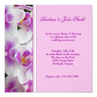 Orchideen-Hochzeitstag-Einladung Quadratische 13,3 Cm Einladungskarte