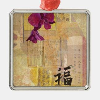 Orchideen-Klugheit Quadratisches Silberfarbenes Ornament