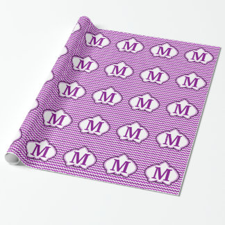 Orchideen-lila Zickzack personalisiertes Monogramm Geschenkpapier