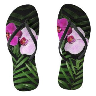 Orchideen mit Palmblättern Flip Flops