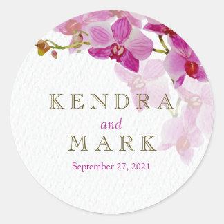 Orchideen-Paradies-Hochzeits-Aufkleber Runder Aufkleber