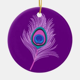 Orchideen-Pfau-Feder auf Amethyst Lila Keramik Ornament