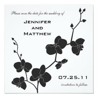 Orchideen Save the Date - Schwarzweiss Quadratische 13,3 Cm Einladungskarte