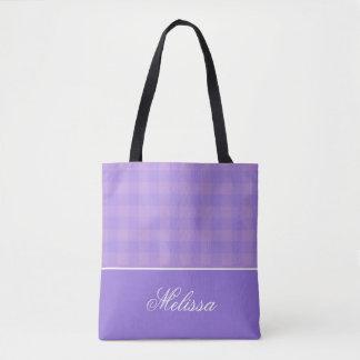 Orchideen-und Lavendel-Gingham | personalisiert Tasche