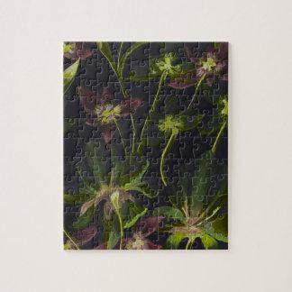 Orchideen-und Lilien-Rückabstraktes Puzzle