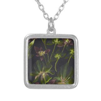 Orchideen-und Lilien-Rückabstraktes Versilberte Kette