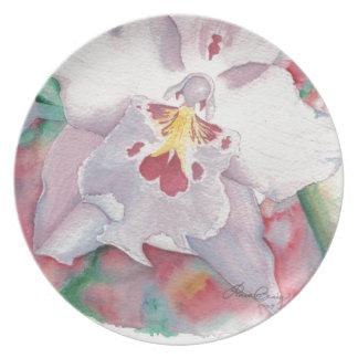 Orchideen-ursprüngliche Kunst dekorativ Teller