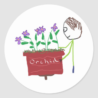 Orchideen-Wachsen Runder Aufkleber