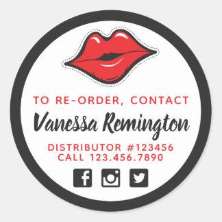 Ordnen Sie roten Kuss-Lippenstift u. Runder Aufkleber