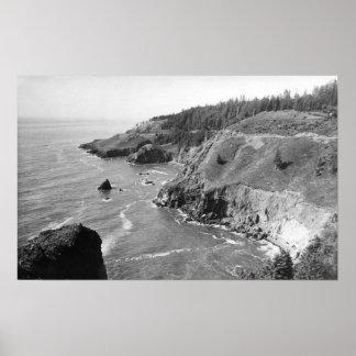 Oregon-Küste Nord vom Blick-heraus Kap Fowlweathe Poster