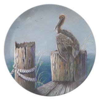 Oregon-Küsten-Brown-Pelikan-Acrylozean-Kunst Teller