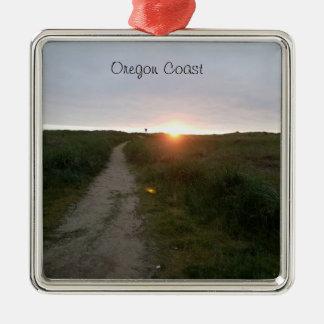 Oregon-Küsten-Strand-Sonnenuntergang-Verzierung Quadratisches Silberfarbenes Ornament
